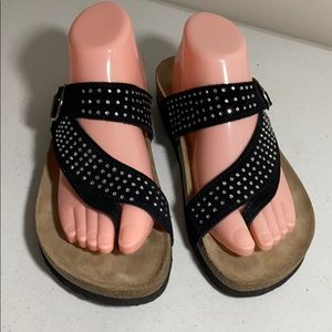 White Mountain rhinestone crusted toe sandals